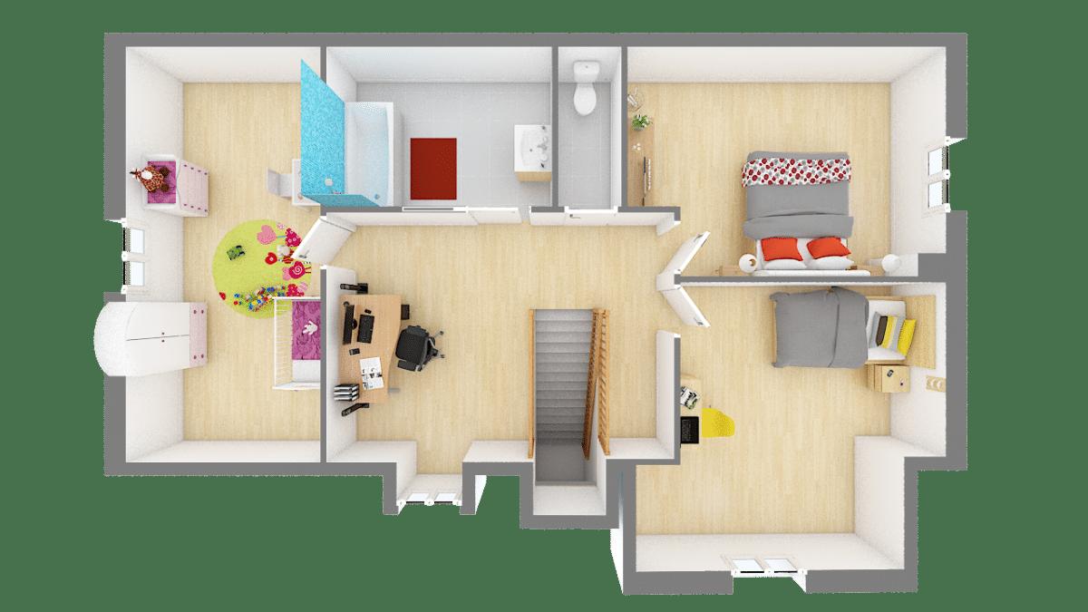 Maisons de Pâris Aisne : vue de dessus étage 3D