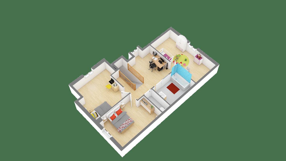 Maisons de Pâris Aisne : vue étage 3D