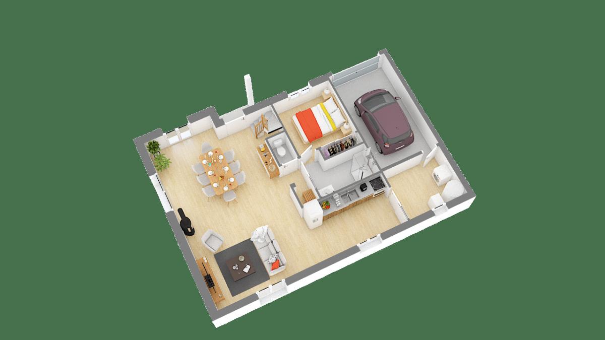 Maisons de Pâris Aisne : vue rez de chaussée 3D