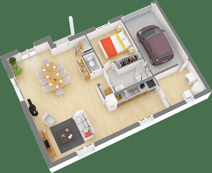 Maisons de Pâris Aisne : rez de chaussée